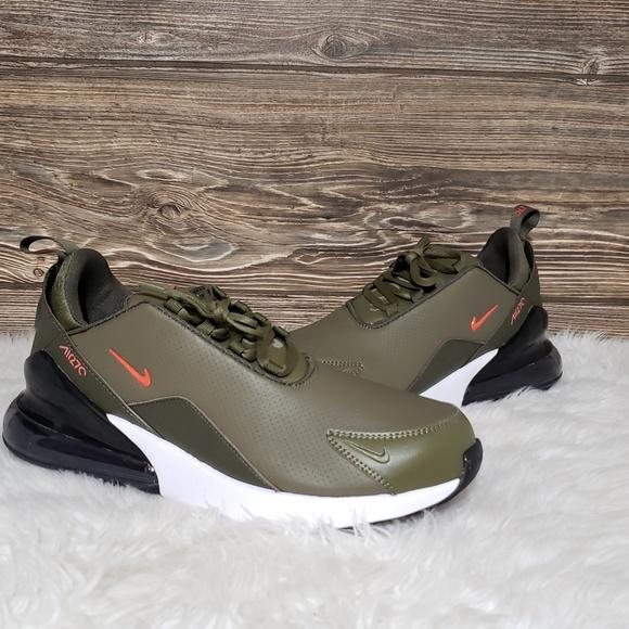 New Nike Air Max 27 Prm Lea Olive Green